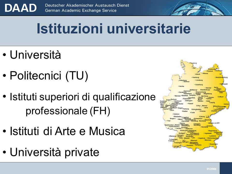 01/2006 Università Politecnici (TU) Istituti superiori di qualificazione professionale (FH) Istituti di Arte e Musica Università private Istituzioni universitarie