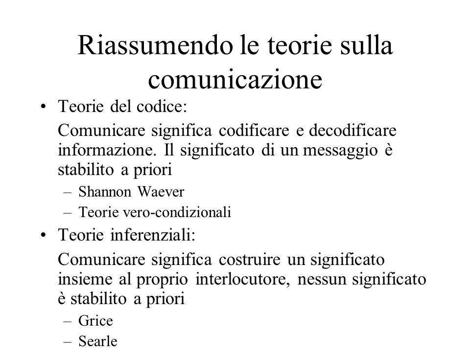 Riassumendo le teorie sulla comunicazione Teorie del codice: Comunicare significa codificare e decodificare informazione. Il significato di un messagg