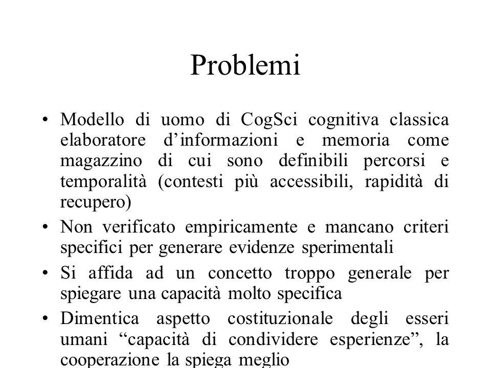 Problemi Modello di uomo di CogSci cognitiva classica elaboratore dinformazioni e memoria come magazzino di cui sono definibili percorsi e temporalità