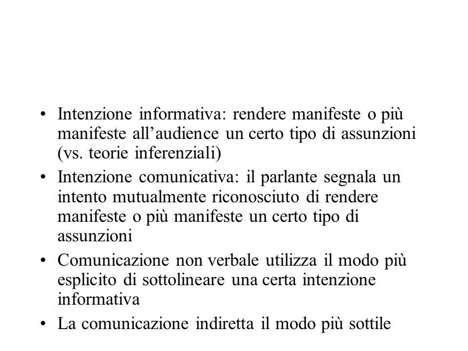 Intenzione informativa: rendere manifeste o più manifeste allaudience un certo tipo di assunzioni (vs. teorie inferenziali) Intenzione comunicativa: i