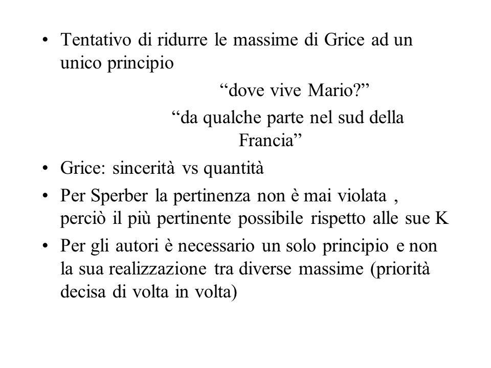 Tentativo di ridurre le massime di Grice ad un unico principio dove vive Mario? da qualche parte nel sud della Francia Grice: sincerità vs quantità Pe