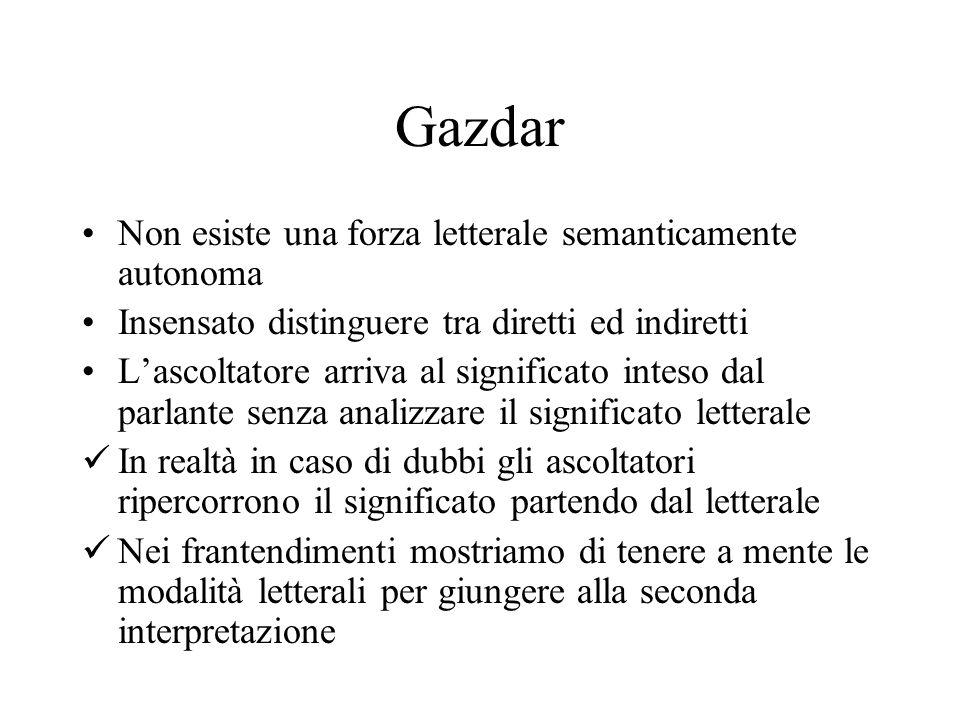 Gazdar Non esiste una forza letterale semanticamente autonoma Insensato distinguere tra diretti ed indiretti Lascoltatore arriva al significato inteso