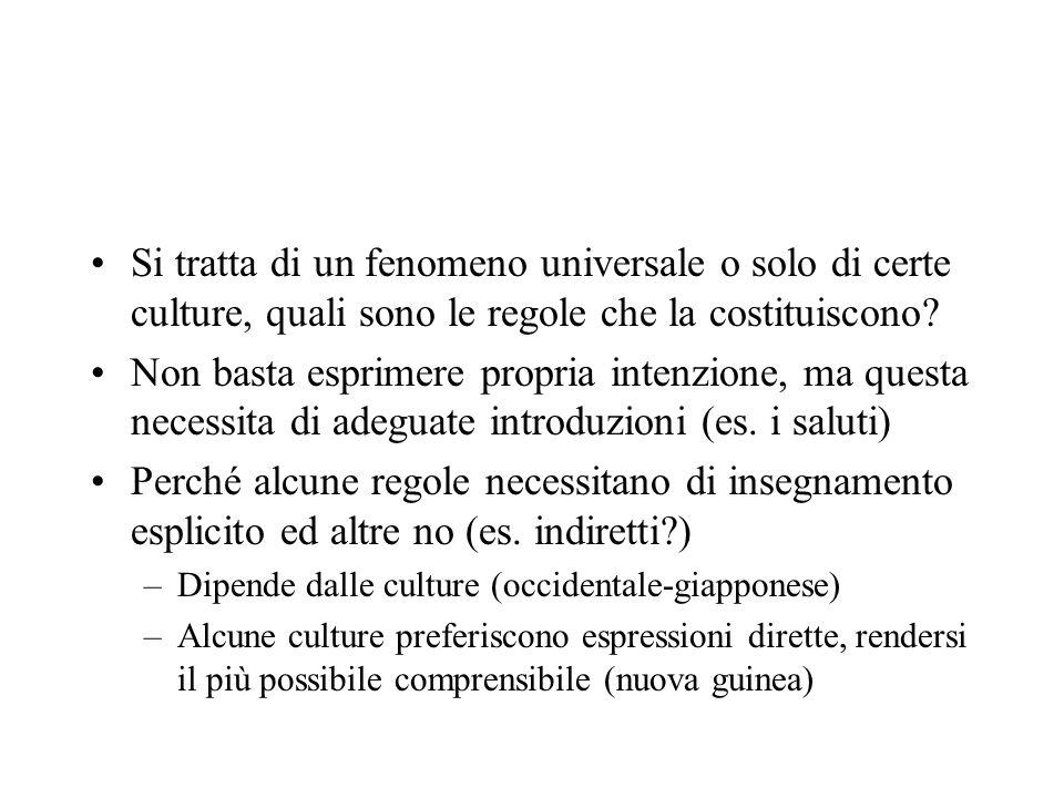 Si tratta di un fenomeno universale o solo di certe culture, quali sono le regole che la costituiscono.
