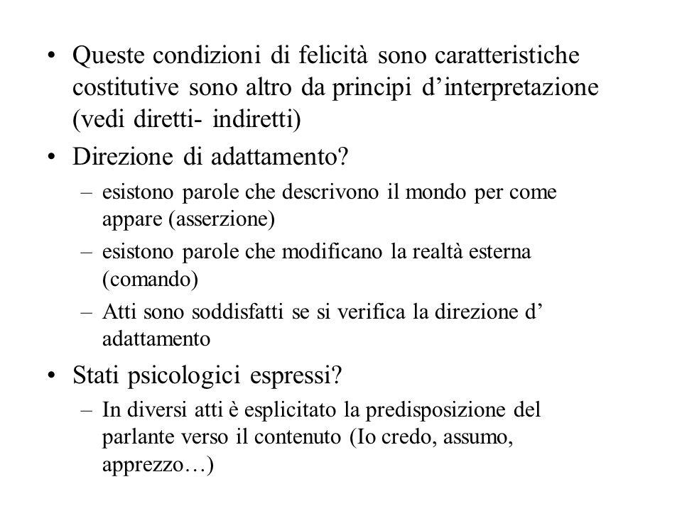 Queste condizioni di felicità sono caratteristiche costitutive sono altro da principi dinterpretazione (vedi diretti- indiretti) Direzione di adattamento.