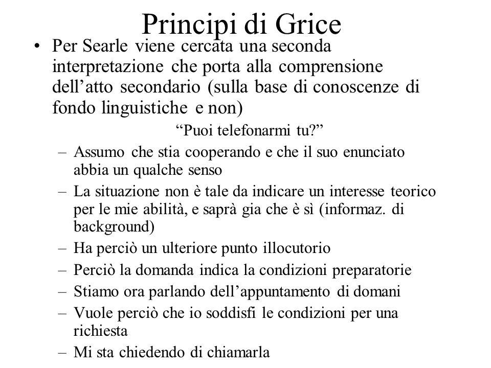 Principi di Grice Per Searle viene cercata una seconda interpretazione che porta alla comprensione dellatto secondario (sulla base di conoscenze di fondo linguistiche e non) Puoi telefonarmi tu.