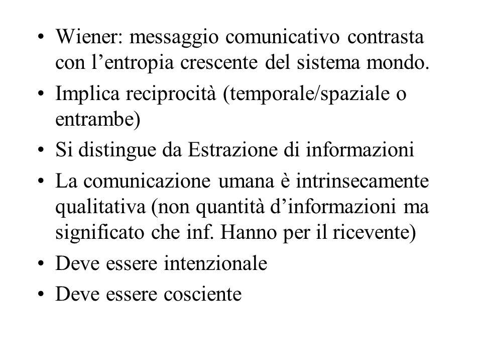 Wiener: messaggio comunicativo contrasta con lentropia crescente del sistema mondo. Implica reciprocità (temporale/spaziale o entrambe) Si distingue d