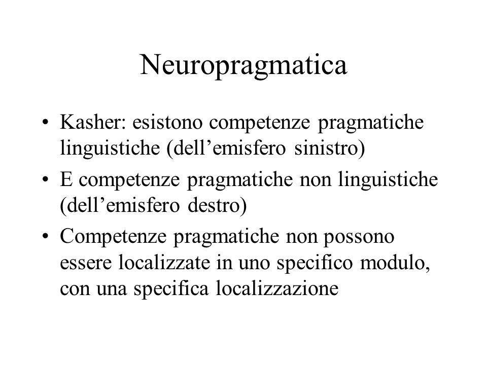 Neuropragmatica Kasher: esistono competenze pragmatiche linguistiche (dellemisfero sinistro) E competenze pragmatiche non linguistiche (dellemisfero d