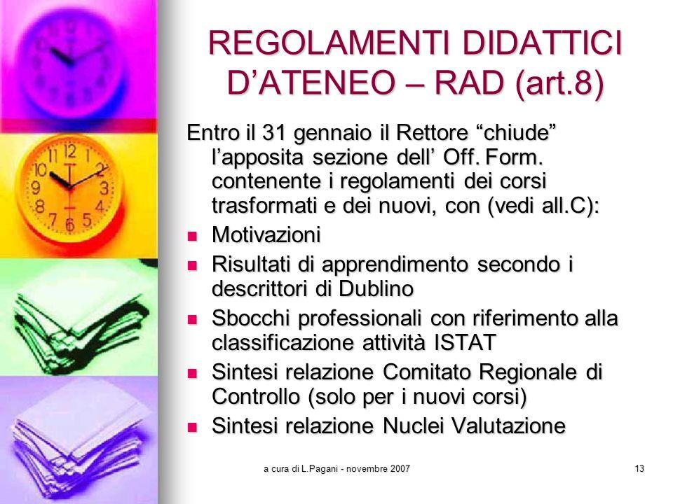 a cura di L.Pagani - novembre 200713 REGOLAMENTI DIDATTICI DATENEO – RAD (art.8) Entro il 31 gennaio il Rettore chiude lapposita sezione dell Off.
