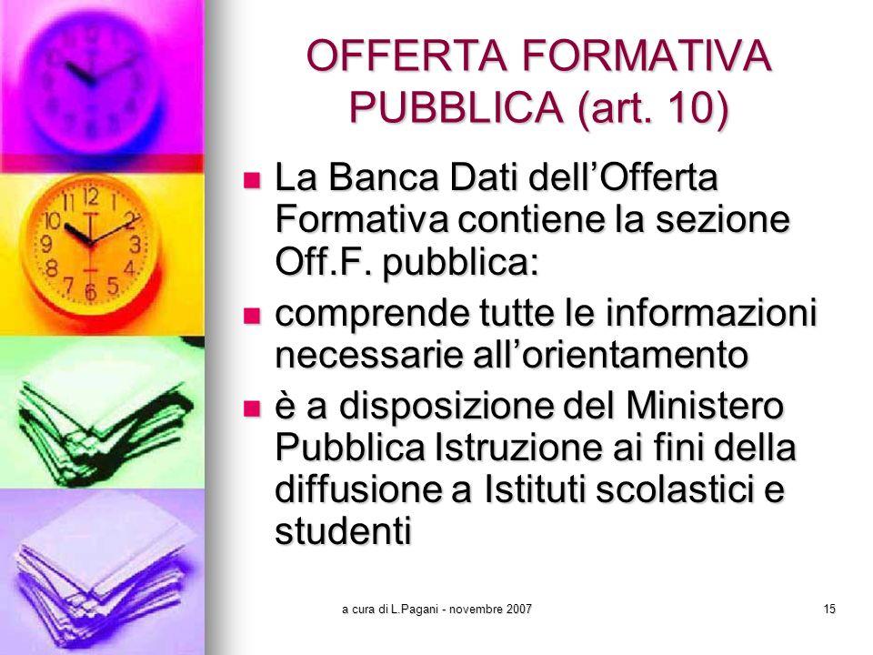 a cura di L.Pagani - novembre 200715 OFFERTA FORMATIVA PUBBLICA (art.