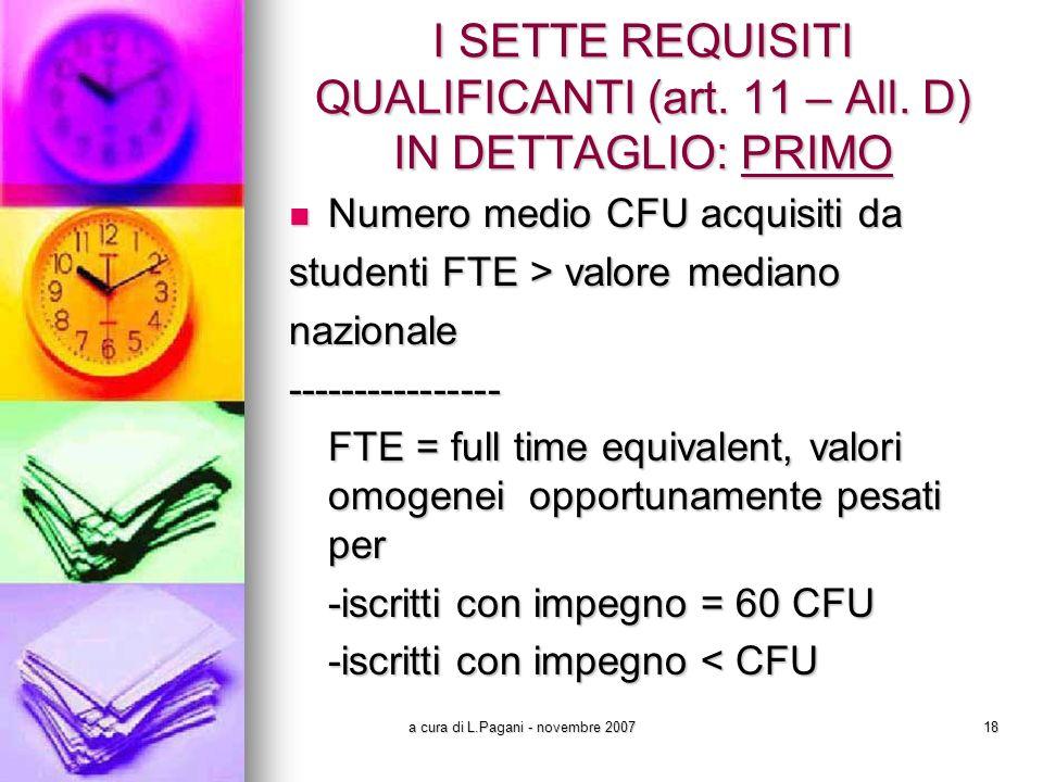 a cura di L.Pagani - novembre 200718 I SETTE REQUISITI QUALIFICANTI (art.