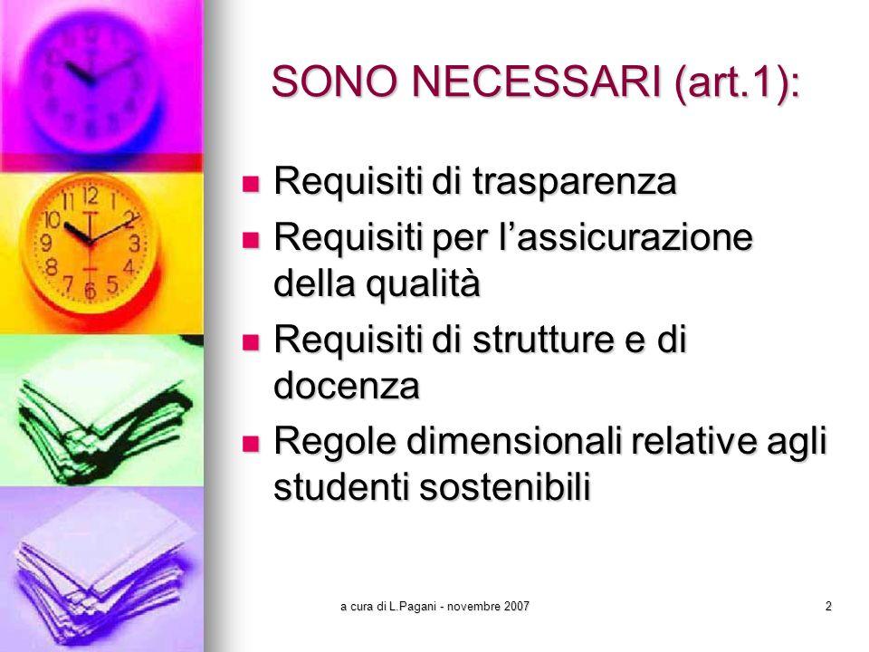 a cura di L.Pagani - novembre 200723 I SETTE REQUISITI QUALIFICANTI (art.