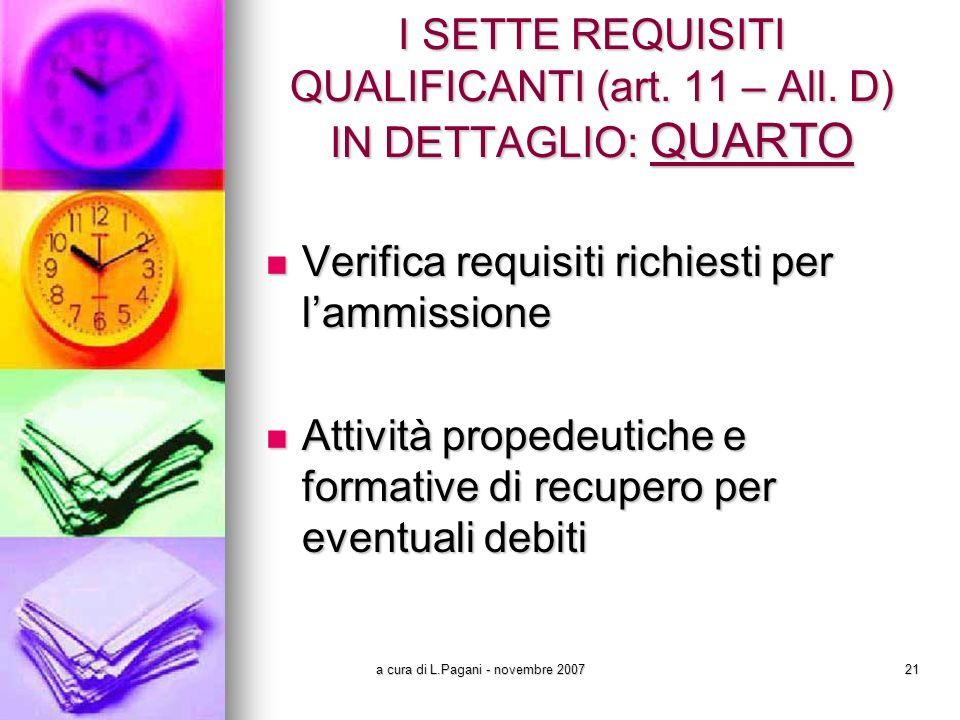 a cura di L.Pagani - novembre 200721 I SETTE REQUISITI QUALIFICANTI (art.