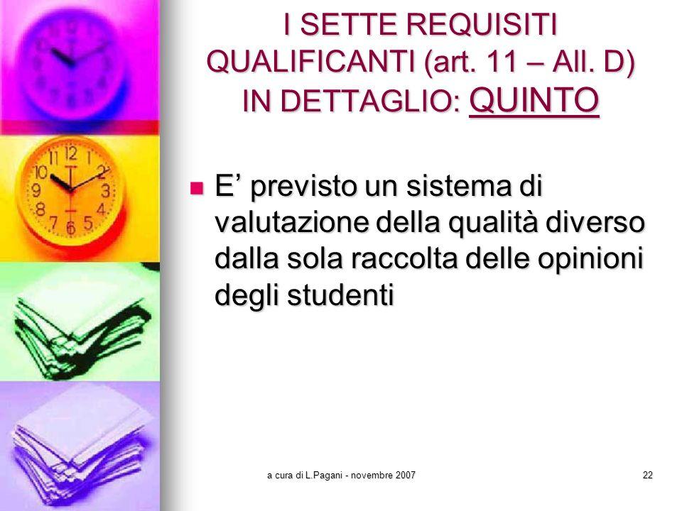 a cura di L.Pagani - novembre 200722 I SETTE REQUISITI QUALIFICANTI (art.