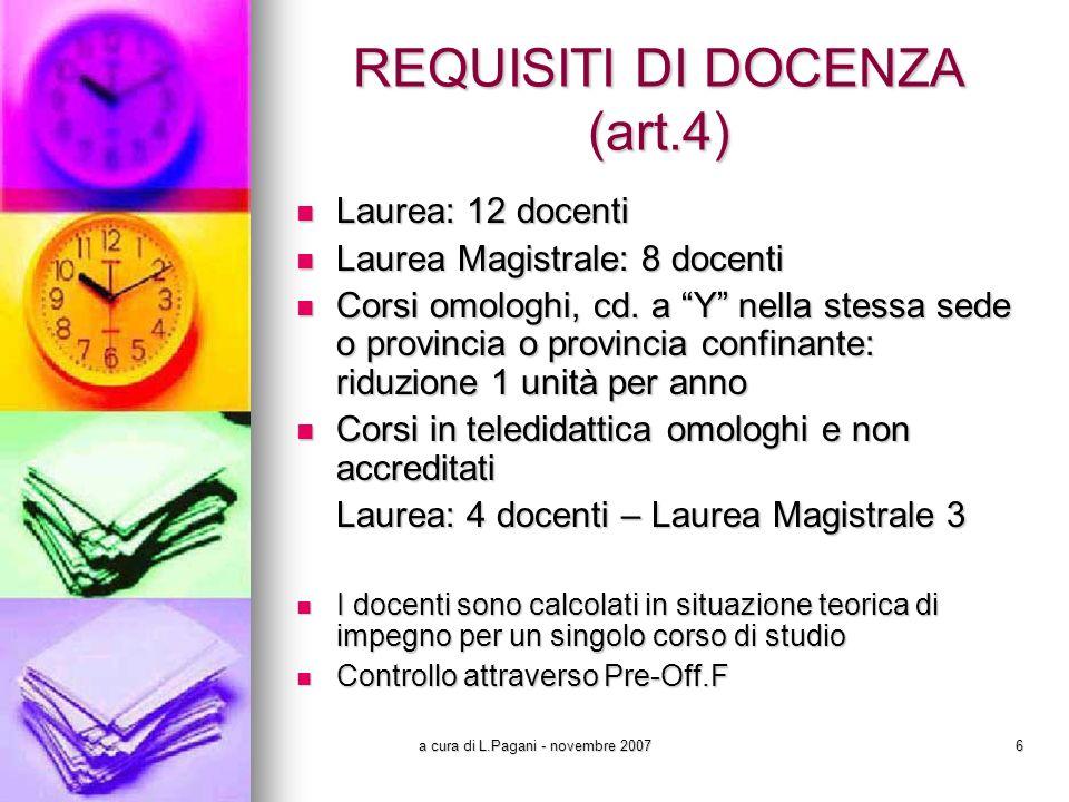 a cura di L.Pagani - novembre 20076 REQUISITI DI DOCENZA (art.4) Laurea: 12 docenti Laurea: 12 docenti Laurea Magistrale: 8 docenti Laurea Magistrale: 8 docenti Corsi omologhi, cd.