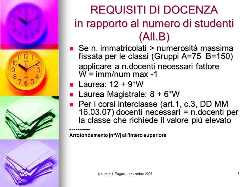a cura di L.Pagani - novembre 20077 REQUISITI DI DOCENZA in rapporto al numero di studenti (All.B) Se n.