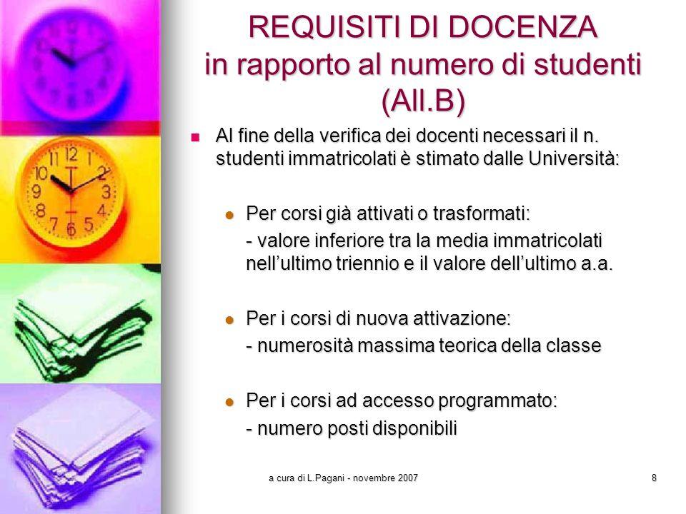 a cura di L.Pagani - novembre 20078 REQUISITI DI DOCENZA in rapporto al numero di studenti (All.B) Al fine della verifica dei docenti necessari il n.