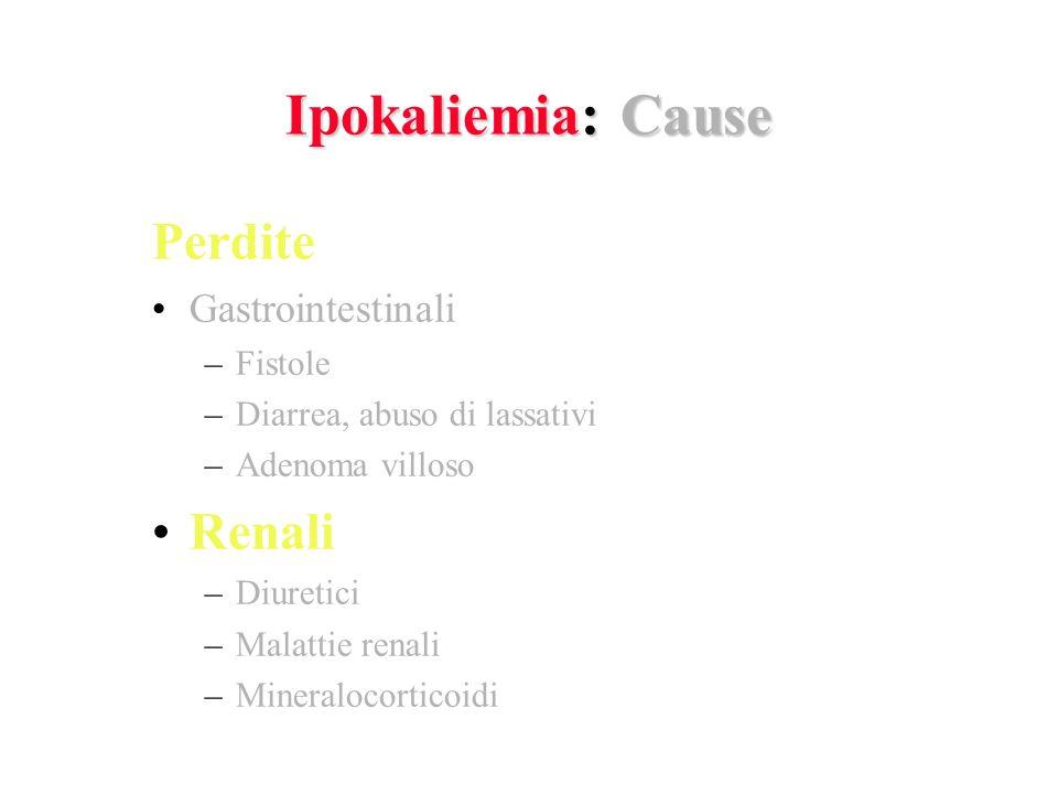 Ipokaliemia: Cause Perdite Gastrointestinali –Fistole –Diarrea, abuso di lassativi –Adenoma villoso Renali –Diuretici –Malattie renali –Mineralocorticoidi