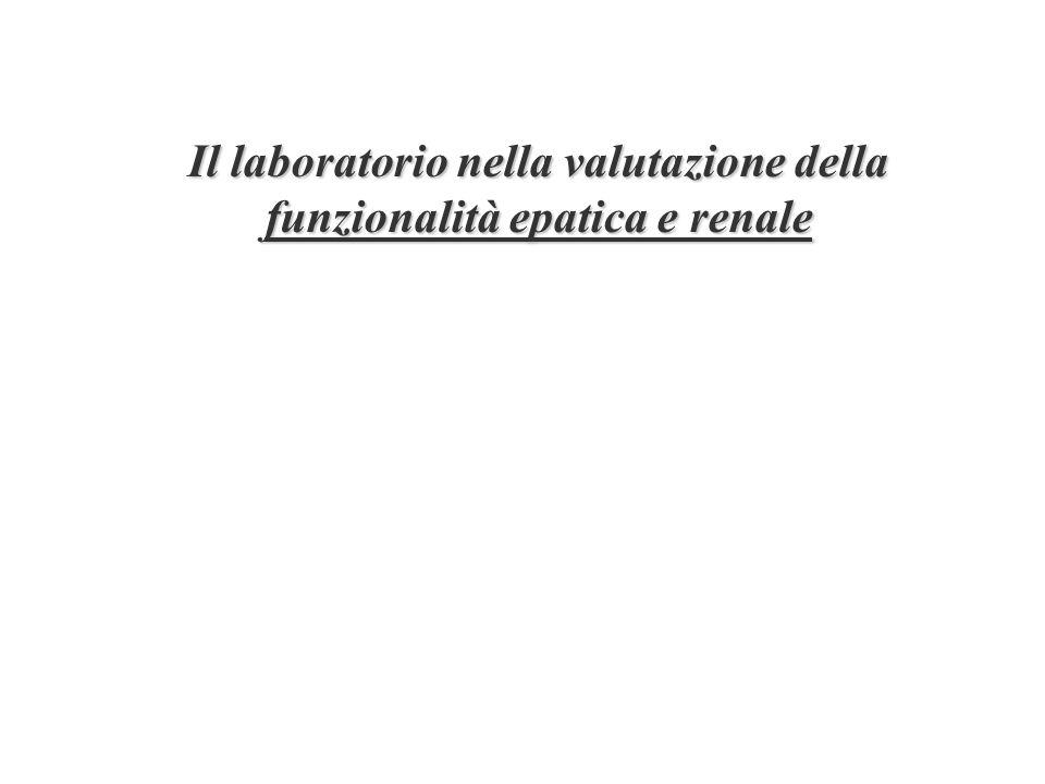 Test di funzionalità tubulare (poco usati) N-acetyl- -D-glucosaminidase (NAG) Tubulo prossimale –Riassorbimento di fosfati –Aminoaciduria –Glicosuria –Escrezionale frazionale di HCO 3 - Tubulo distale –Acidificazione (carico con cloruro dammonio) –Concentrazione