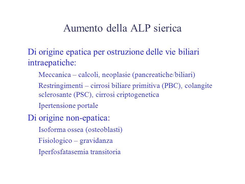 Aumento della ALP sierica Di origine epatica per ostruzione delle vie biliari intraepatiche: –Meccanica – calcoli, neoplasie (pancreatiche/biliari) –R