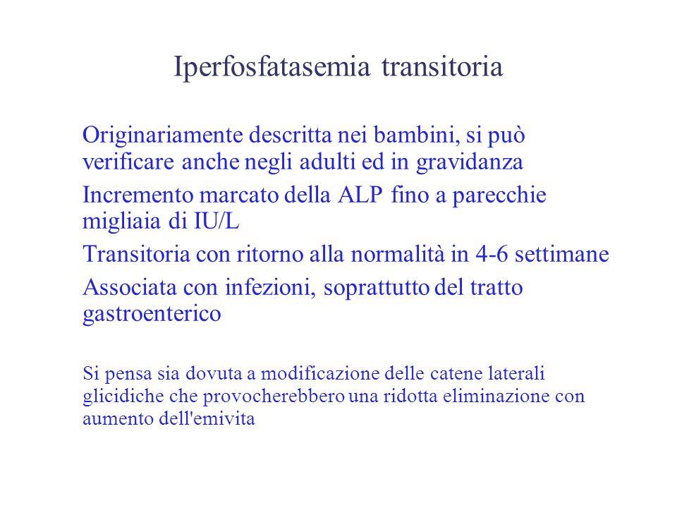 Iperfosfatasemia transitoria Originariamente descritta nei bambini, si può verificare anche negli adulti ed in gravidanza Incremento marcato della ALP