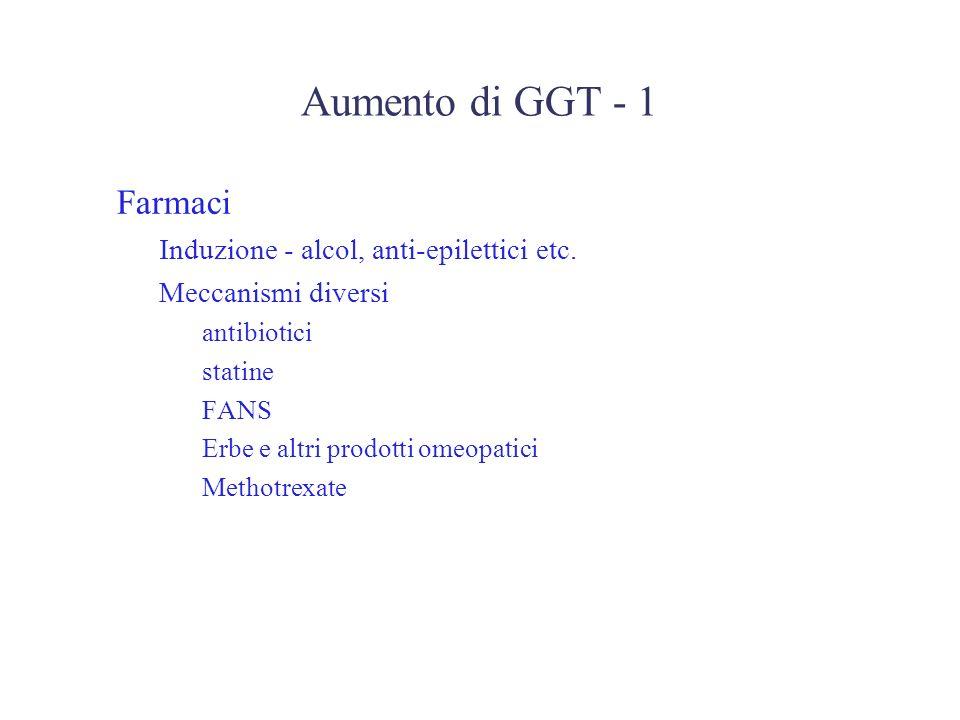 Aumento di GGT - 1 Farmaci –Induzione - alcol, anti-epilettici etc. –Meccanismi diversi antibiotici statine FANS Erbe e altri prodotti omeopatici Meth