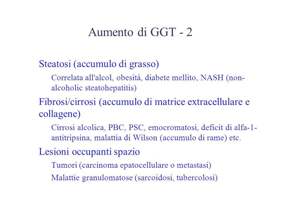 Aumento di GGT - 2 Steatosi (accumulo di grasso) –Correlata all'alcol, obesità, diabete mellito, NASH (non- alcoholic steatohepatitis) Fibrosi/cirrosi