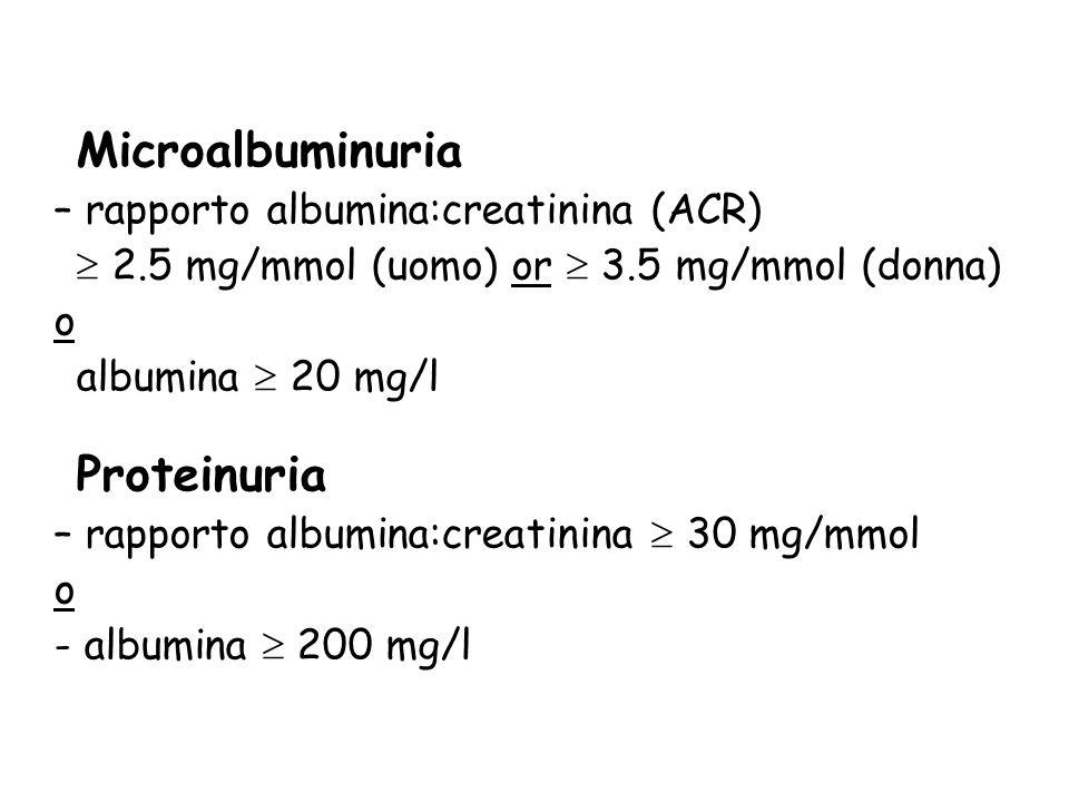 Microalbuminuria – rapporto albumina:creatinina (ACR) 2.5 mg/mmol (uomo) or 3.5 mg/mmol (donna) o albumina 20 mg/l Proteinuria – rapporto albumina:cre