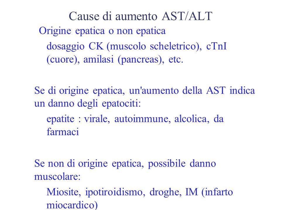 Cause di un aumento di AST / ALT >10x ULN (upper limit of normality) Epatite acuta, ipossiemia tessutale (shock) 5-10x ULN infarto miocardico, Trauma, malattie del muscolo scheletrico, Colestasi, Epatiti croniche, epatite autoimmune < 5x ULN Condizioni fisiologiche (neonati), altre malattie epatiche (Wilson, emocromatosi, deficit di alfa1-antitripsina), pancreatite, emolisi in vivo e in vitro, abuso alcolico.