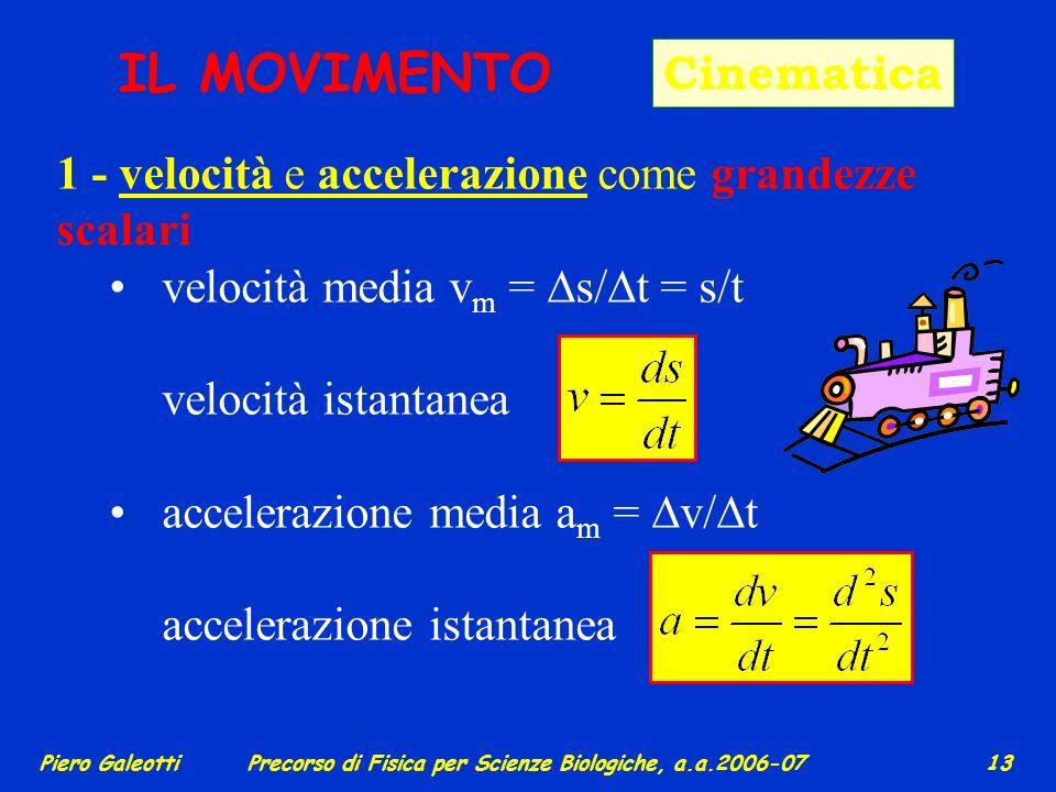 Piero GaleottiPrecorso di Fisica per Scienze Biologiche, a.a.2006-07 12 Il prodotto scalare (o interno) tra due vettori è una grandezza scalare c = a·