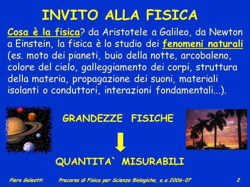 Piero GaleottiPrecorso di Fisica per Scienze Biologiche, a.a.2006-07 2 INVITO ALLA FISICA Cosa è la fisica.