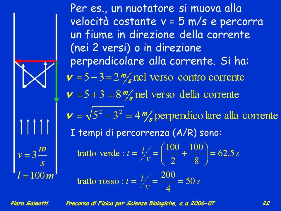 Piero GaleottiPrecorso di Fisica per Scienze Biologiche, a.a.2006-07 21 x y vt LA RELATIVITA` La relatività newtoniana e le trasformazioni galileiane: