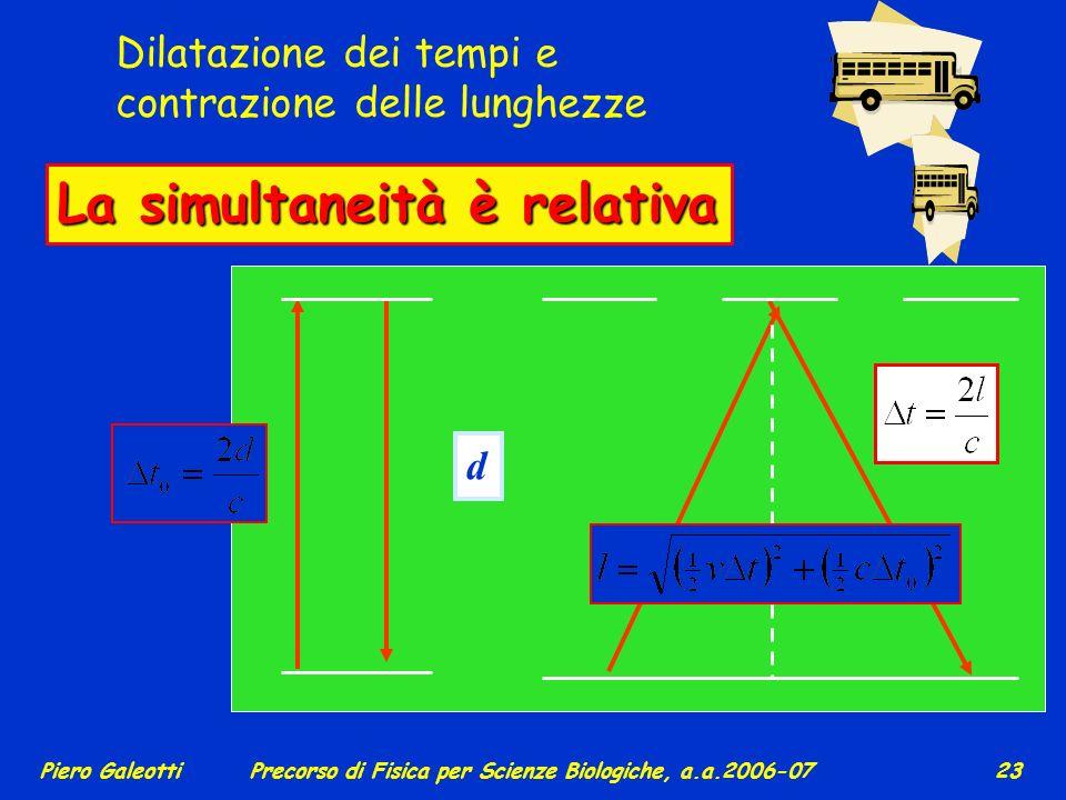 Piero GaleottiPrecorso di Fisica per Scienze Biologiche, a.a.2006-07 22 Per es., un nuotatore si muova alla velocità costante v = 5 m/s e percorra un
