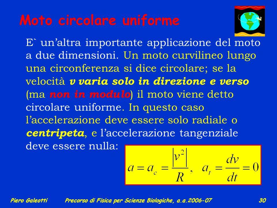 Piero GaleottiPrecorso di Fisica per Scienze Biologiche, a.a.2006-07 29 Esempio di moto in 2 direzioni