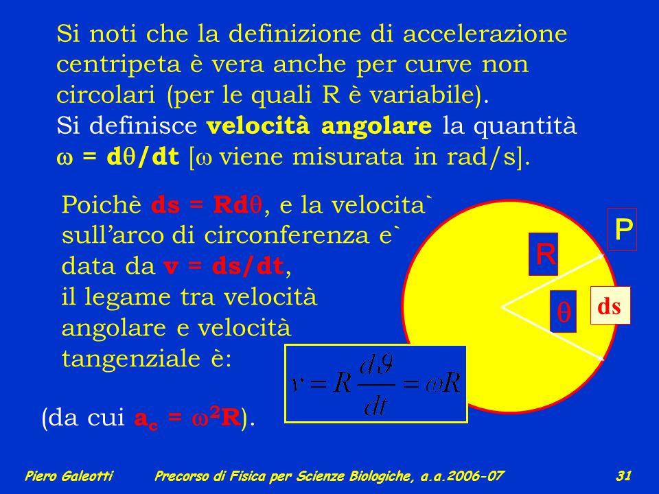 Piero GaleottiPrecorso di Fisica per Scienze Biologiche, a.a.2006-07 30 E` unaltra importante applicazione del moto a due dimensioni. Un moto curvilin