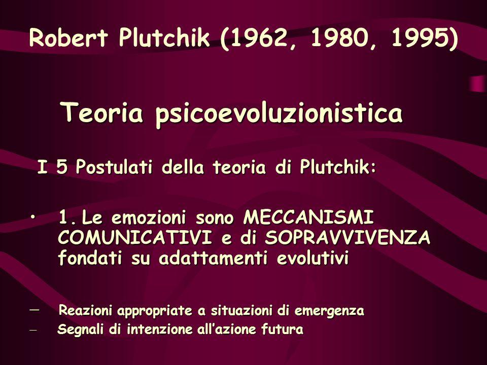 Teoria psicoevoluzionistica I 5 Postulati della teoria di Plutchik: I 5 Postulati della teoria di Plutchik: 1. Le emozioni sono MECCANISMI COMUNICATIV