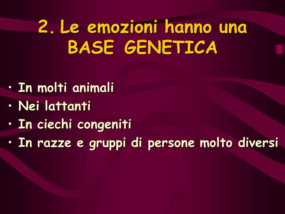 2. Le emozioni hanno una BASE GENETICA In molti animaliIn molti animali Nei lattantiNei lattanti In ciechi congenitiIn ciechi congeniti In razze e gru