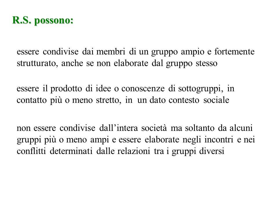 R.S. possono: essere condivise dai membri di un gruppo ampio e fortemente strutturato, anche se non elaborate dal gruppo stesso essere il prodotto di