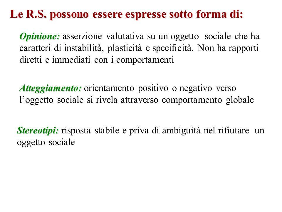 Le R.S. possono essere espresse sotto forma di: Opinione: Opinione: asserzione valutativa su un oggetto sociale che ha caratteri di instabilità, plast