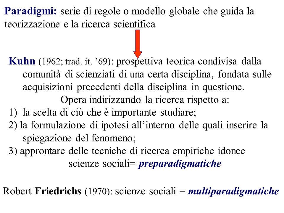 Paradigmi: serie di regole o modello globale che guida la teorizzazione e la ricerca scientifica Kuhn (1962; trad. it. 69) : prospettiva teorica condi