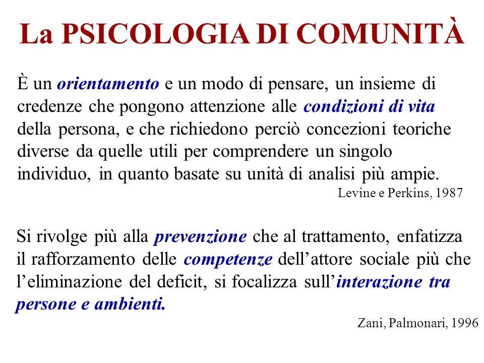 La PSICOLOGIA DI COMUNITÀ È un orientamento e un modo di pensare, un insieme di credenze che pongono attenzione alle condizioni di vita della persona,