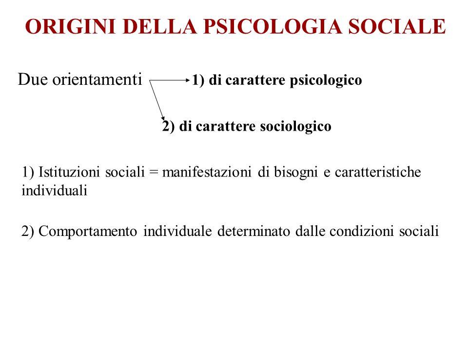 ORIGINI DELLA PSICOLOGIA SOCIALE Due orientamenti 1) di carattere psicologico 2) di carattere sociologico 1) Istituzioni sociali = manifestazioni di b