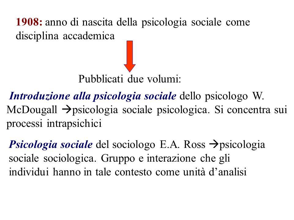 1908: anno di nascita della psicologia sociale come disciplina accademica Introduzione alla psicologia sociale dello psicologo W. McDougall psicologia