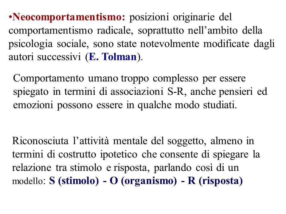 Neocomportamentismo: posizioni originarie del comportamentismo radicale, soprattutto nellambito della psicologia sociale, sono state notevolmente modi