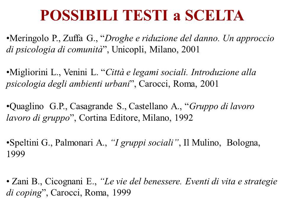 Meringolo P., Zuffa G., Droghe e riduzione del danno. Un approccio di psicologia di comunità, Unicopli, Milano, 2001 Migliorini L., Venini L. Città e