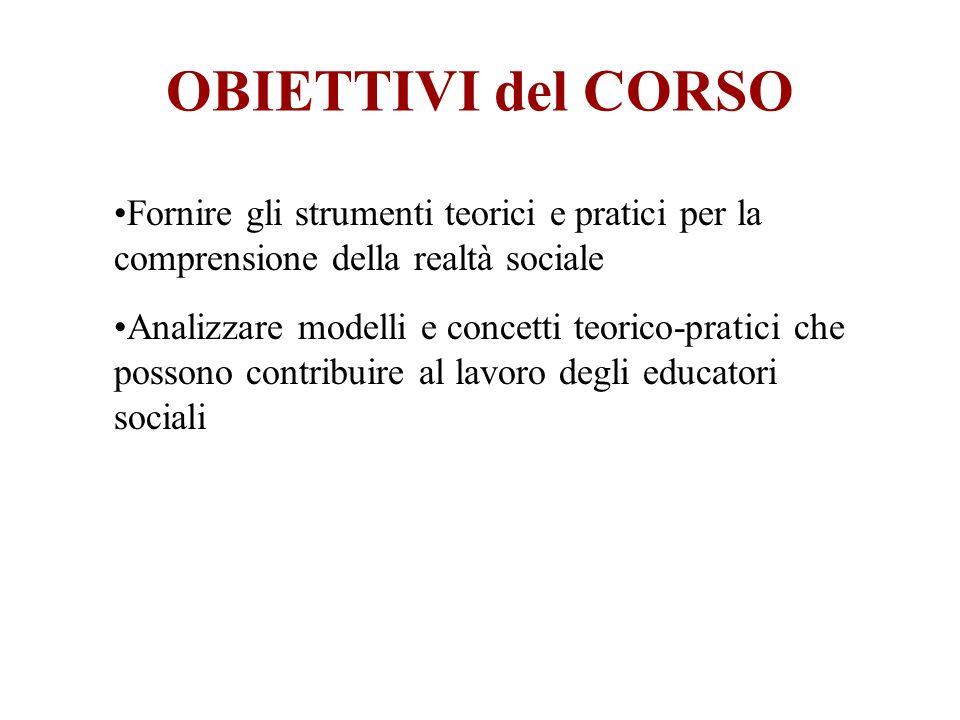 OBIETTIVI del CORSO Fornire gli strumenti teorici e pratici per la comprensione della realtà sociale Analizzare modelli e concetti teorico-pratici che