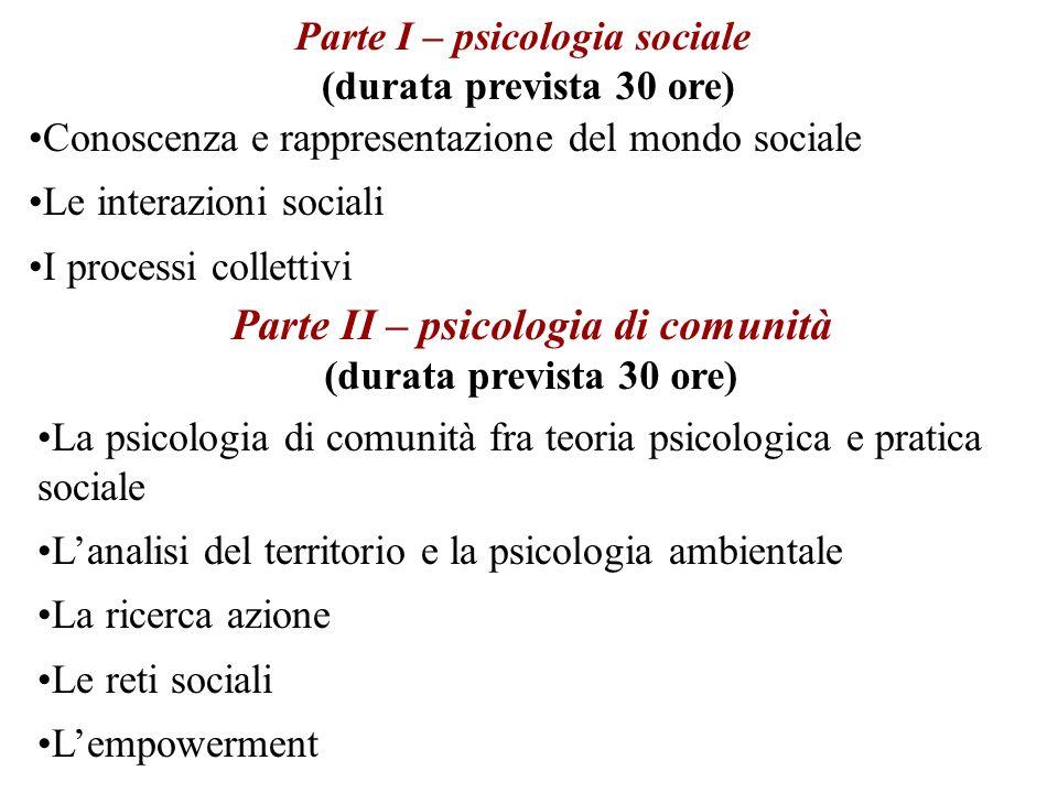 Conoscenza e rappresentazione del mondo sociale Le interazioni sociali I processi collettivi Parte I – psicologia sociale (durata prevista 30 ore) La