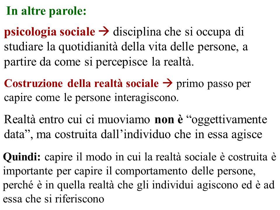 In altre parole: psicologia sociale disciplina che si occupa di studiare la quotidianità della vita delle persone, a partire da come si percepisce la