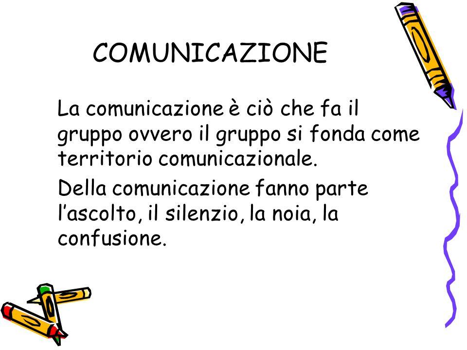 COMUNICAZIONE La comunicazione è ciò che fa il gruppo ovvero il gruppo si fonda come territorio comunicazionale.