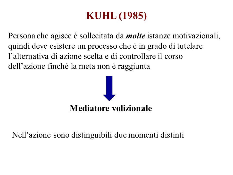 KUHL (1985) Persona che agisce è sollecitata da molte istanze motivazionali, quindi deve esistere un processo che è in grado di tutelare lalternativa