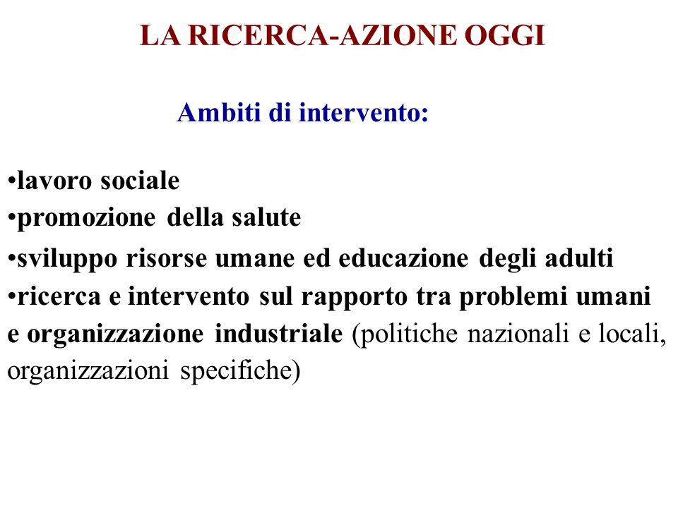 LA RICERCA-AZIONE OGGI Ambiti di intervento: lavoro sociale promozione della salute sviluppo risorse umane ed educazione degli adulti ricerca e interv